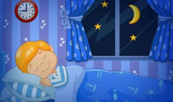 Cartoon picture of boy sleeping under his blankets in bed with a clock on the wall and window showing moon and stars