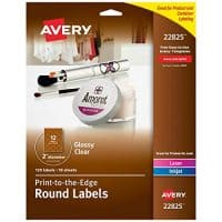 "Avery 2"" Round Labels for Laser & Inkjet Printers, 120 Glossy Crystal Clear Labels (22825)"