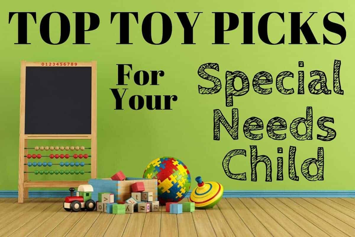 """Wooden toys and chalkboard abacus on a hardwood floor with a title block saying """"Top Toy Picks for your Special Needs Child"""""""