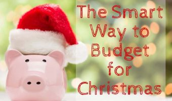 "Piggy bank with santa hat on with Christmas tree in the background and text reading ""The Smart Way to Budget for Christmas"""