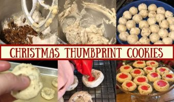 Picture collage with stages of making Christmas Thumbprint Cookies