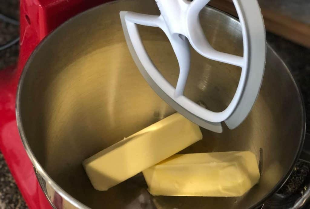 room temperature butter in mixing bowl of stand mixer for Easy Iced Lemon Cookies