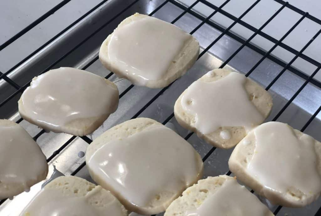 Easy Iced Lemon Cookies on a cooling rack