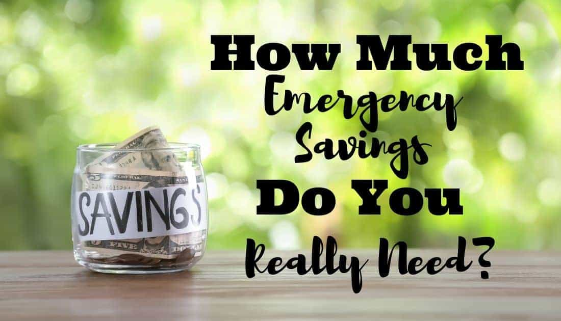 Emergency savings change jar labeled savings on a table outside