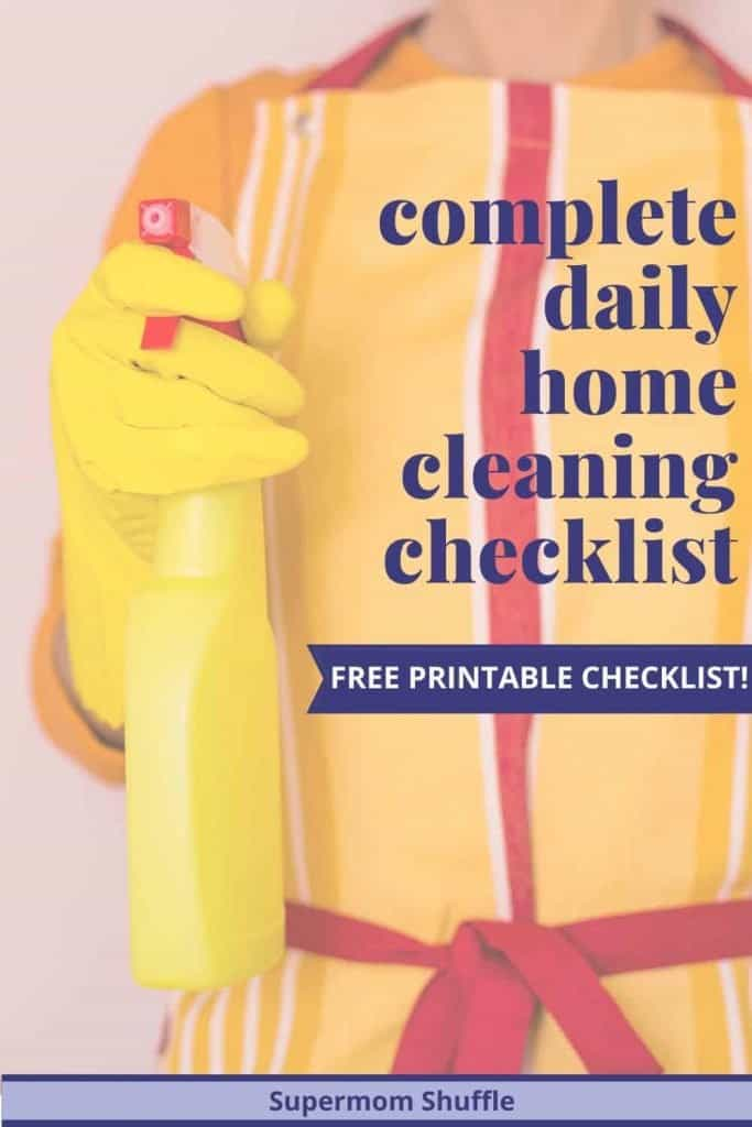 Woman in yellow and red striped apron with cleaning supplies for the complete cleaning checklist