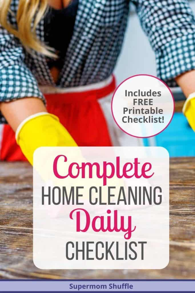Woman in red apron scrubbing and cleaning using complete cleaning checklist