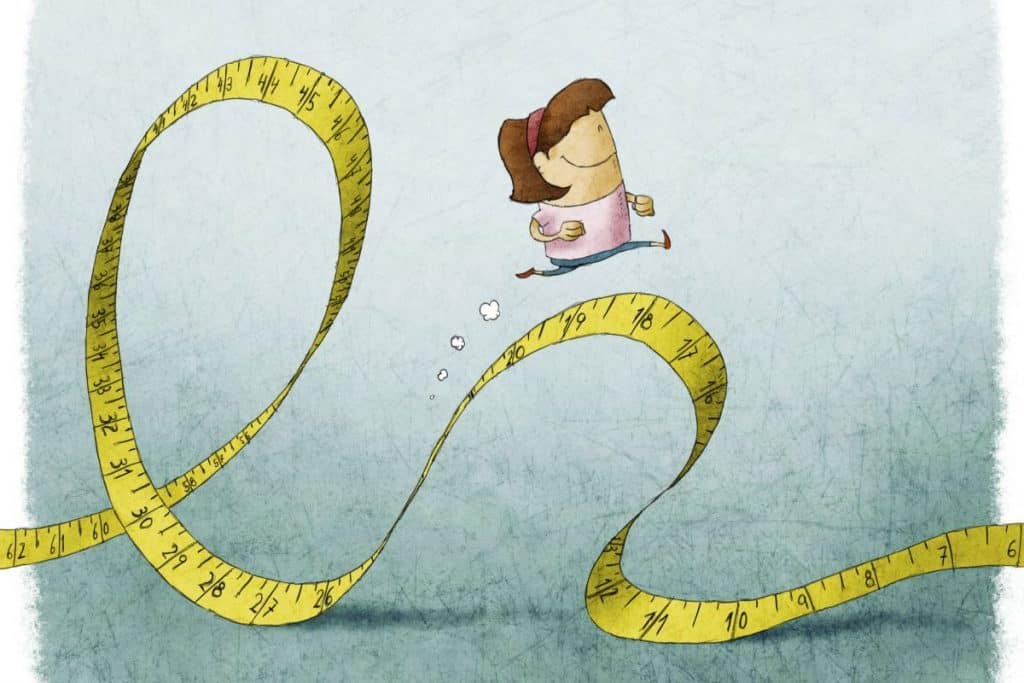 cartoon woman running on a measuring tape for exercise