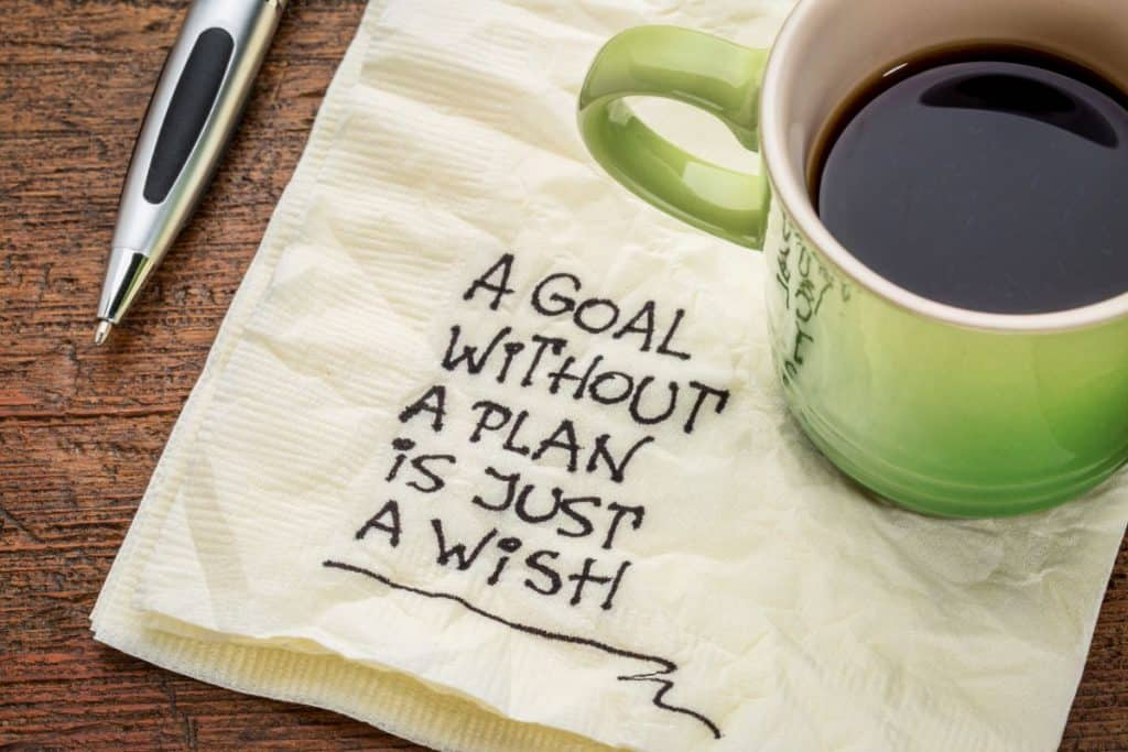 "coffee cup on a napkin with ""a goal without a plan is just a wish"" written on napkin"