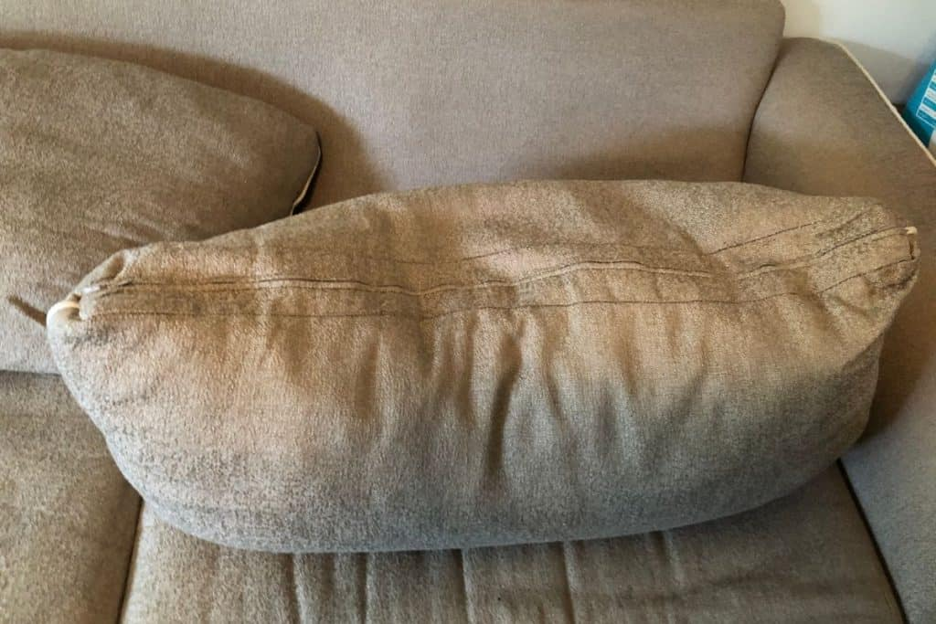 Couch cushion with zipper side up