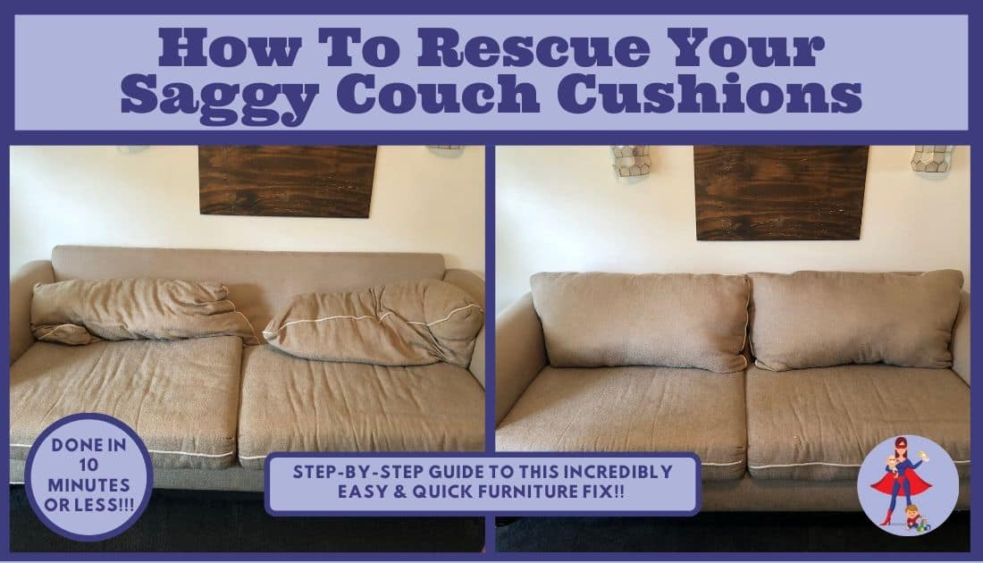 Split picture with old saggy couch on one side and remodeled couch that's fixed on the other