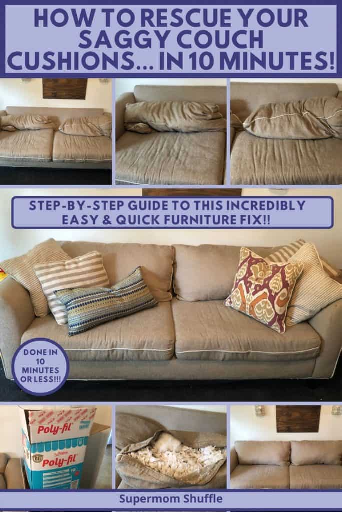 Steps and pictures for fixing saggy couch cushions