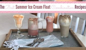 The best 4 flavors of ice cream floats on a tray with a napkin and spoons