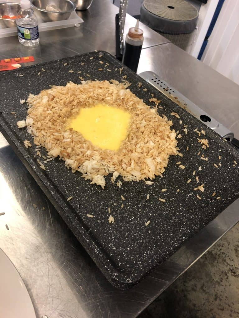 fried rice in process