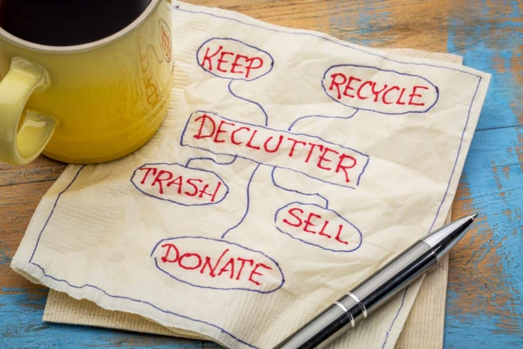 napkin with writing for a decluttering plan
