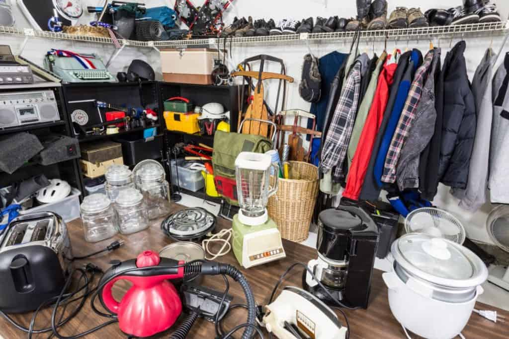 Messy cluttered items in a garage