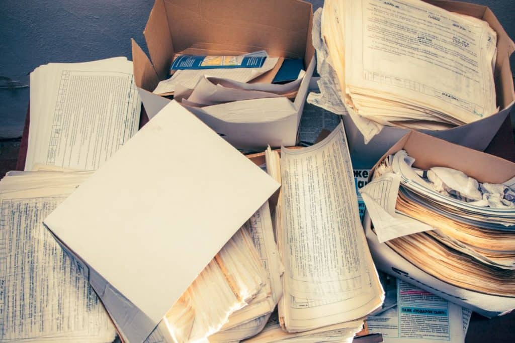 boxes of records and paper clutter