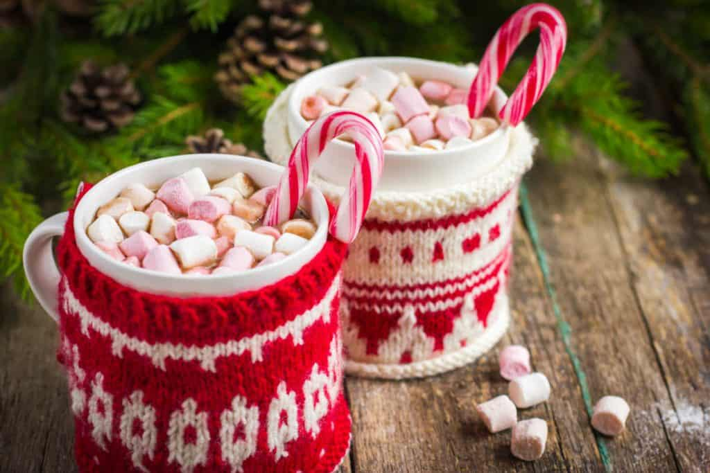 Hot cocoa with mugs wrapped in christmas sweaters