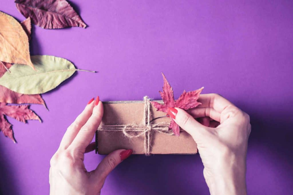 Small cardboard box with twine bows with Autumn leaves all around