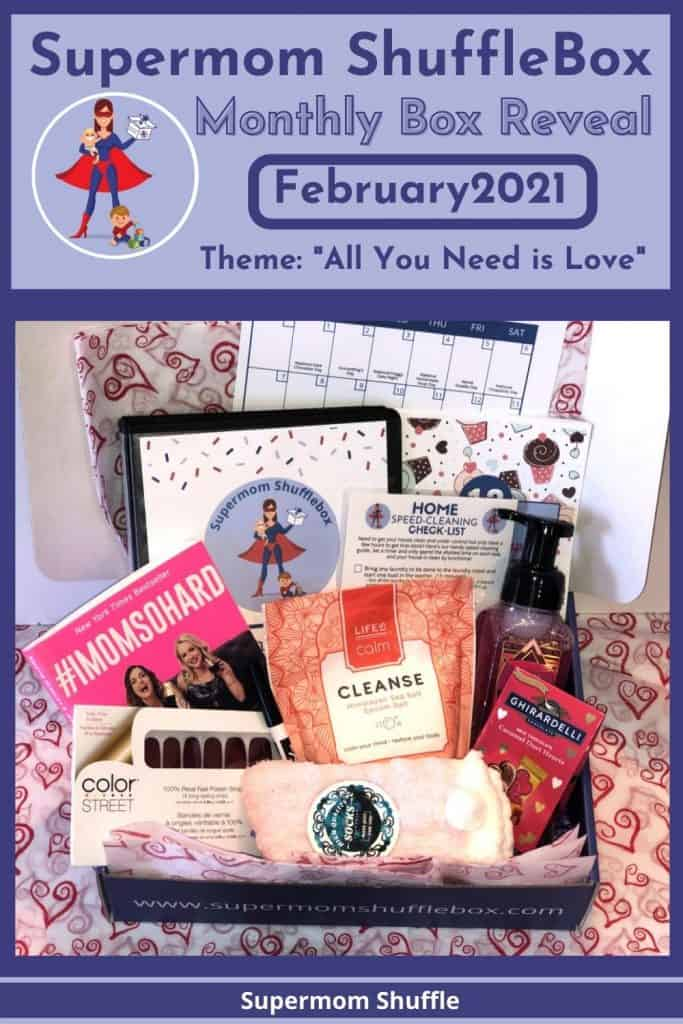 February Supermom Shufflebox box picture with theme listed as All You Need is Love