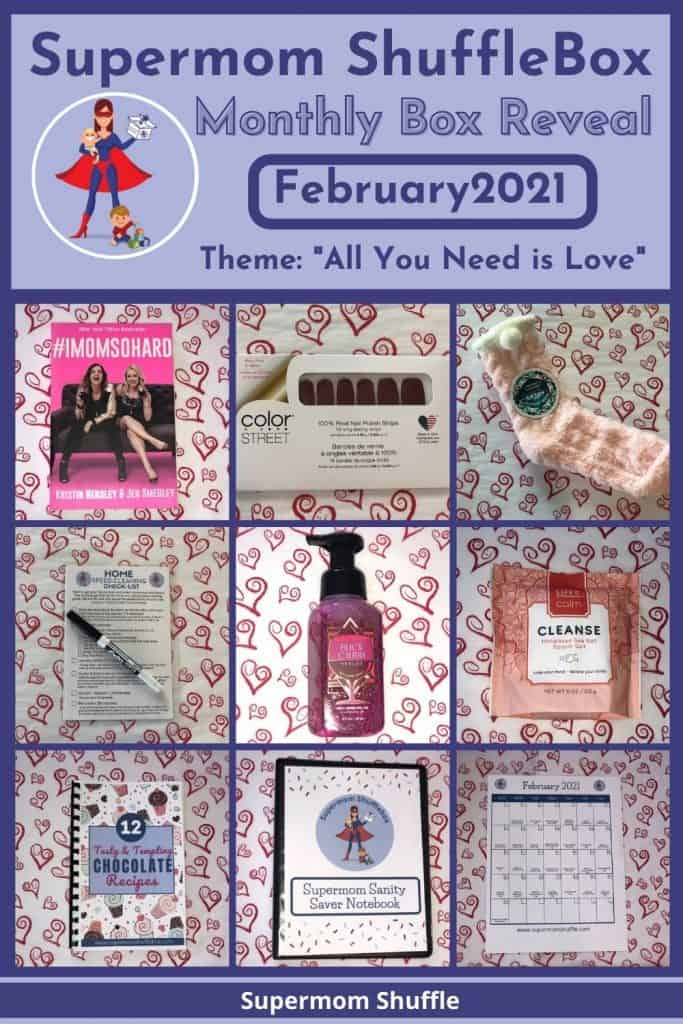 February Supermom Shufflebox grid with picture of all items in the box