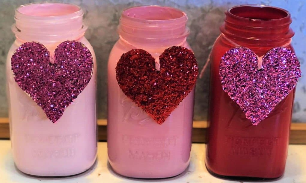 Valentine's Day Mason Jars finished jars with glittler hearts tied with pink twine