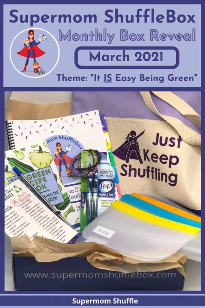 All the items in the March Supermom Shufflebox arrange in an array inside the box