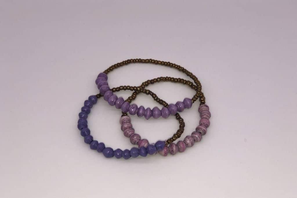 3 purple paper bead bracelets featured in Supermom Shufflebox