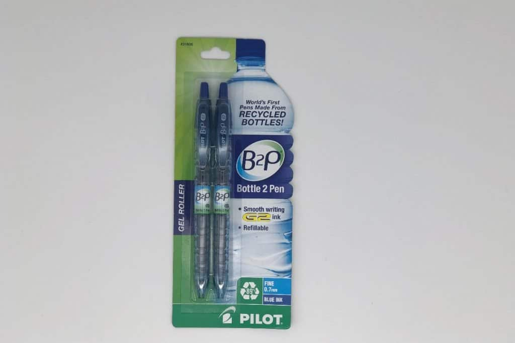 package of water bottle recycled ink pens featured in Supermom Shufflebox