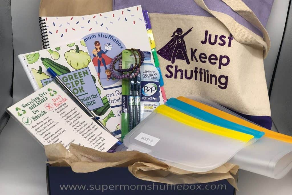 Supermom ShuffleBox - March Box Items packed in box