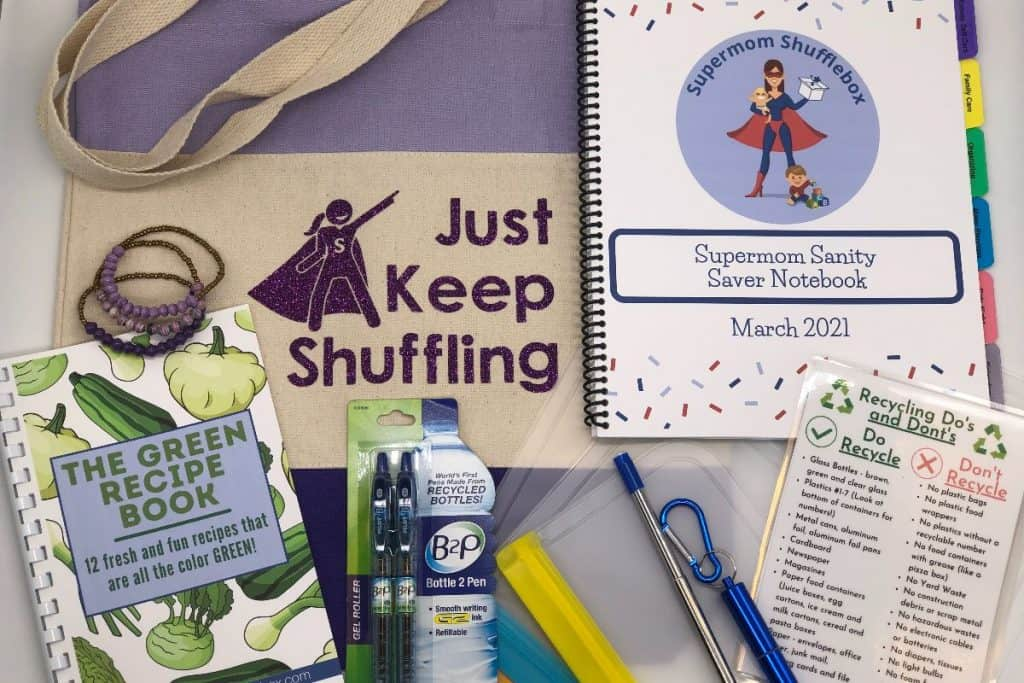 Supermom ShuffleBox March Flat Lay of Items in a flat lay array