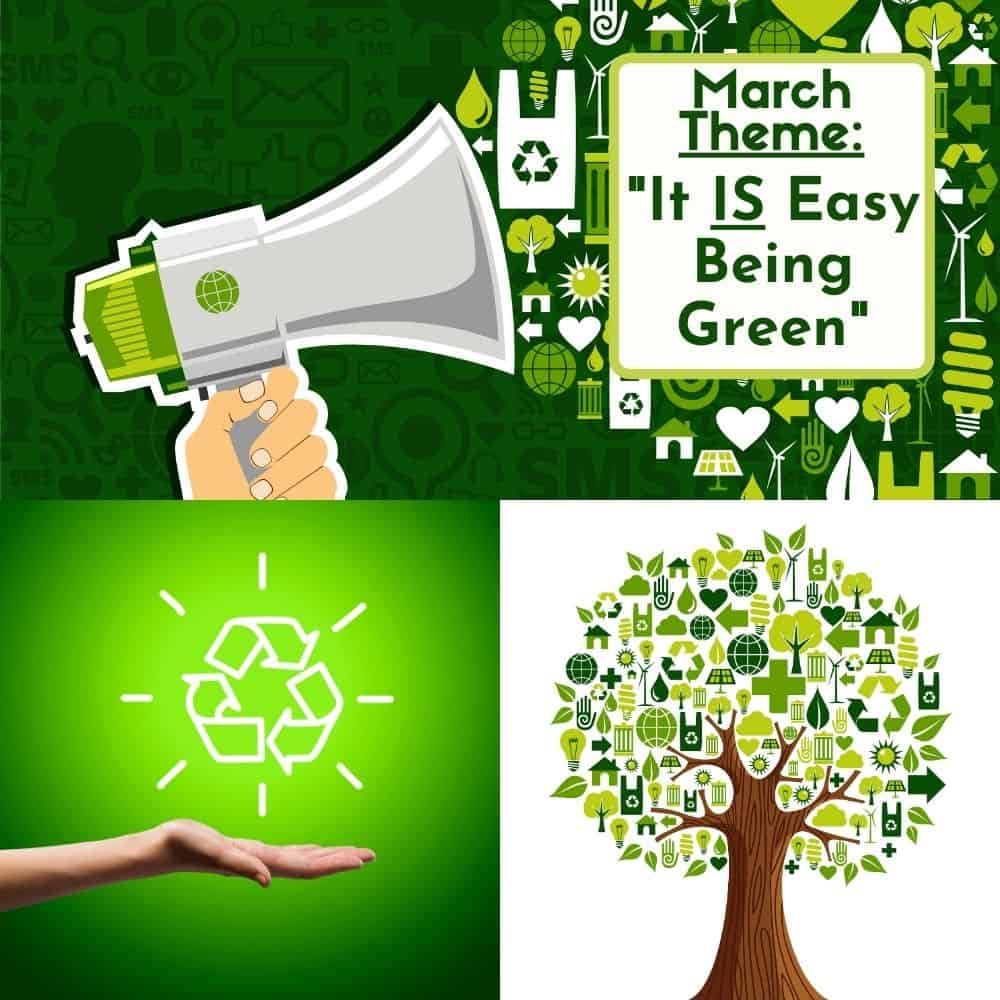"""March Supermom ShuffleBox theme announcement of """"It IS Easy Being Green"""""""