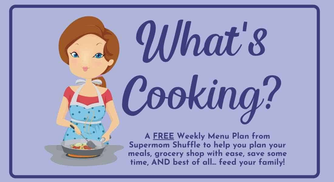 """Cartoon woman with """"what's cooking"""" caption for a meal plan picture"""