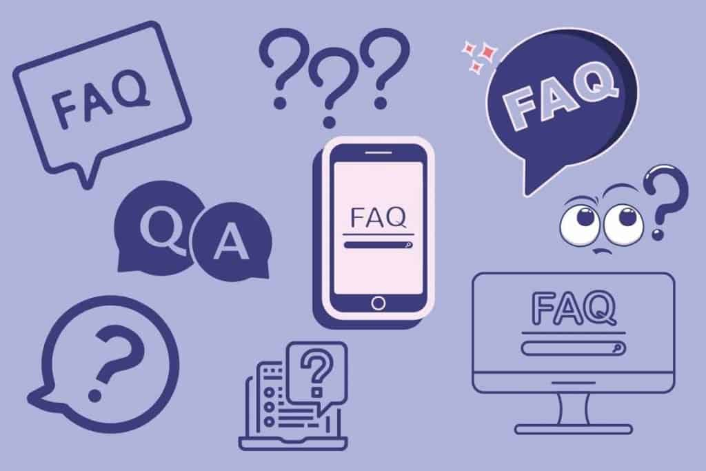 Frequently Asked Questions with lots of different FAQ icons all over the picture/collage