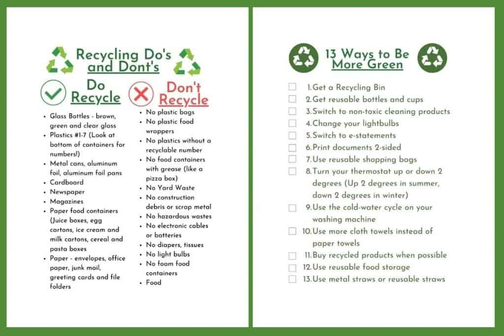 checklist in march supermom shufflebox that is one side recycling dos and don'ts and the other side a checklist of 13 ways to be more green