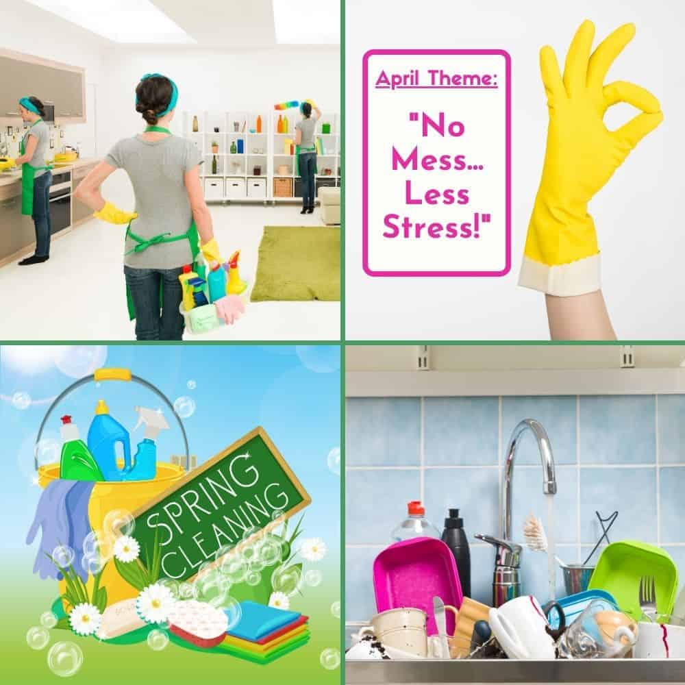 Supermom ShuffleBox April 2021 Theme Annoucement of No Mess, Less Stress, with lots of pictures of cleaning and messes