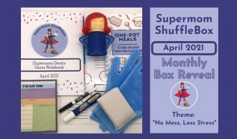 Supermom ShuffleBox April Reveal Featured Image with a flat lay array picture of all the April box contents