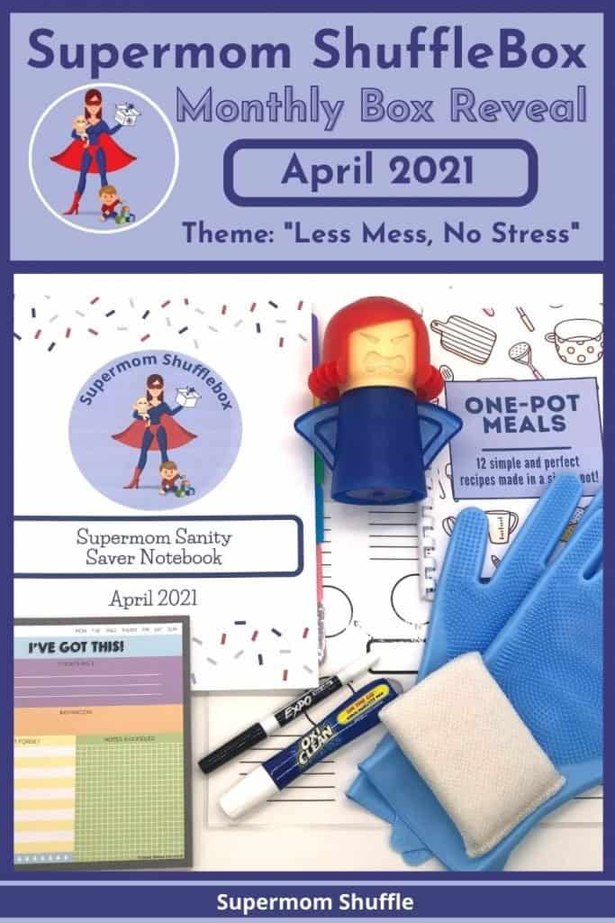 Supermom ShuffleBox April Reveal pin image with a flat lay array picture of all the April box contents