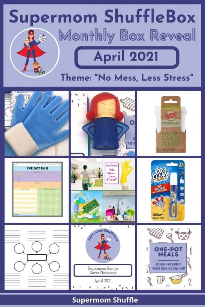 Supermom ShuffleBox April Reveal pin image with a picture collage of all the April box contents