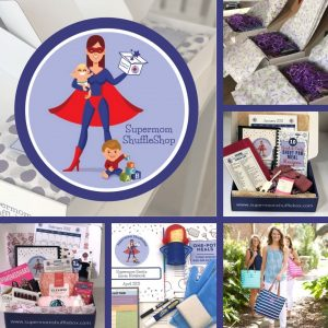 grid of several pictures of items and boxes available in the Supermom ShuffleShop