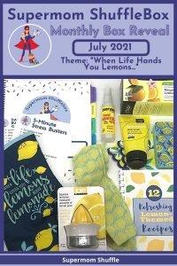 Flat lay of items in July Supermom ShuffleBox