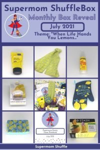 Collage of pictures of all the lemon items in the July Supermom ShuffleBox