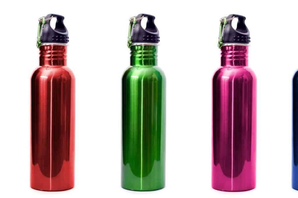 reusable water bottles in multi colors