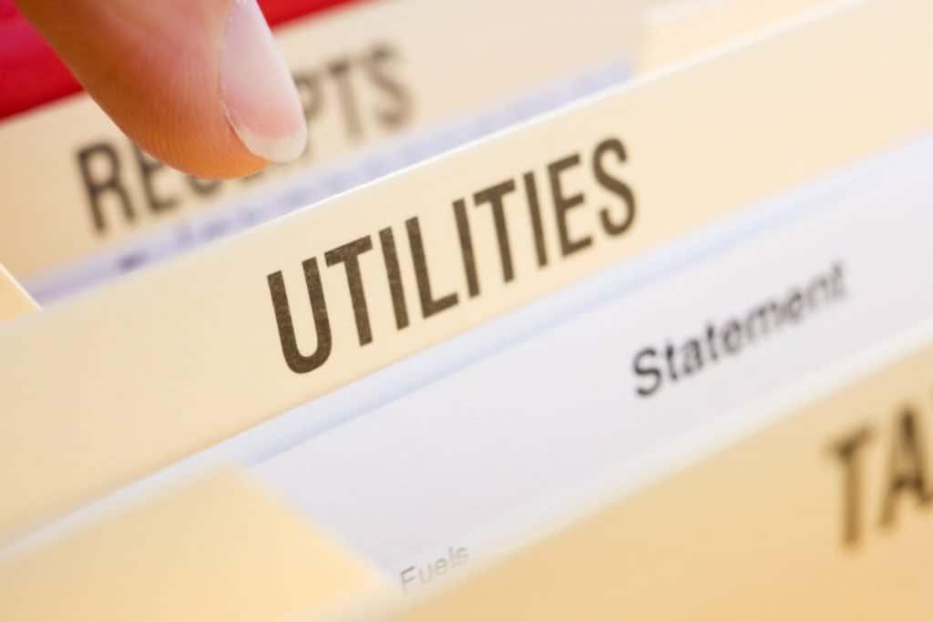 "manilla file folder labeled ""Utilities"""
