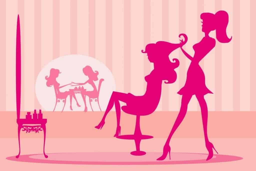 Cartoon silouette of a woman in the salon char getting her hair done