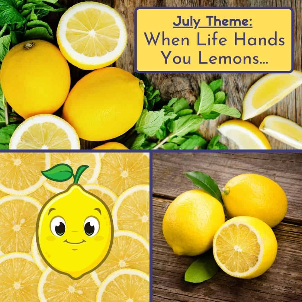 Supermom ShuffleBox - July Lemon Theme Announcement with a collage of lemon pictures