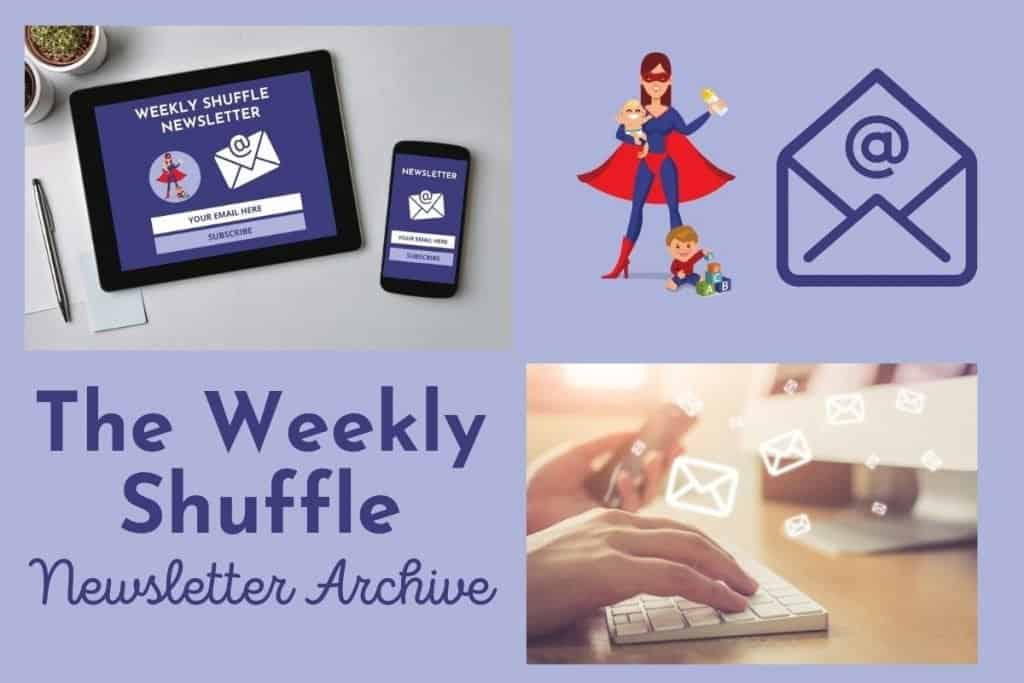 A collage of e-newsletter icons and pictures for Supermom Shuffle Weekly Newsletter