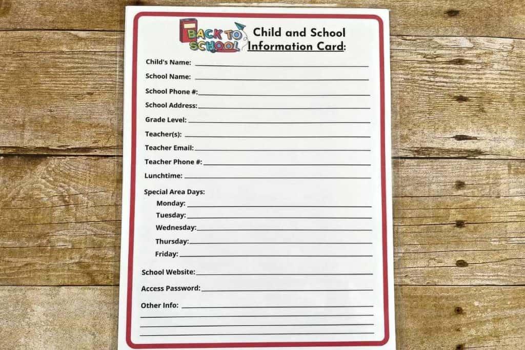 Supermom Shufflebox Laminated Back to School card for kid classroom information