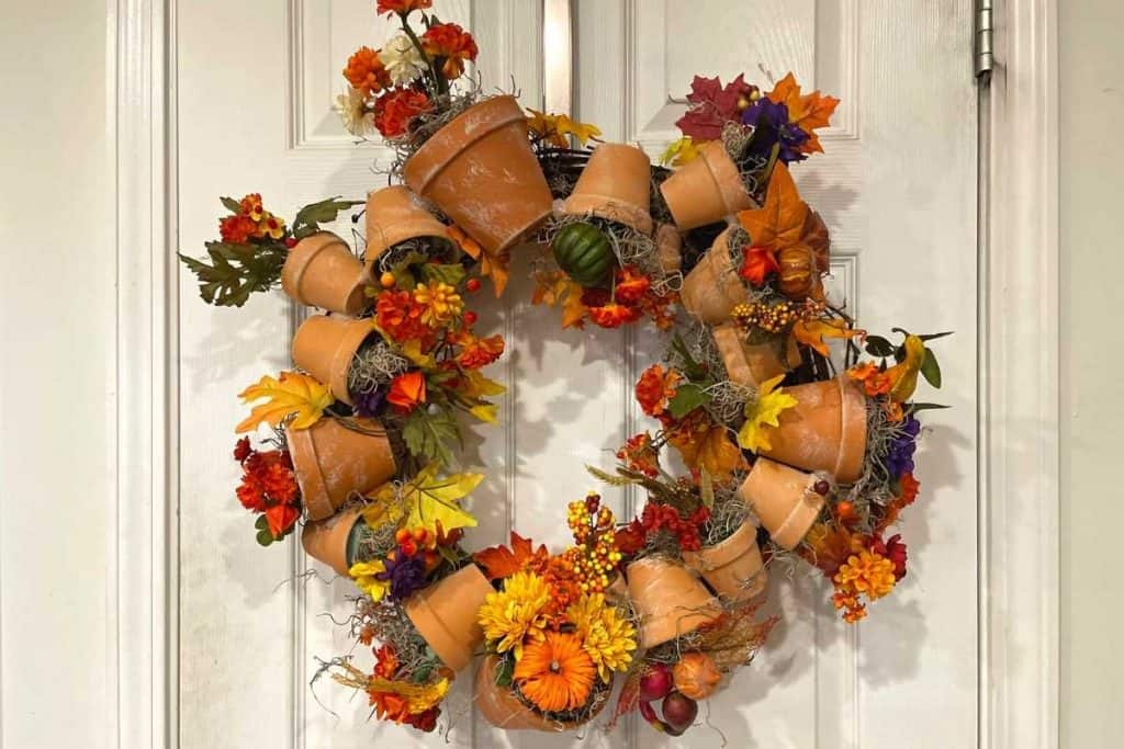 Completed DIY Fall Terracotta Wreath